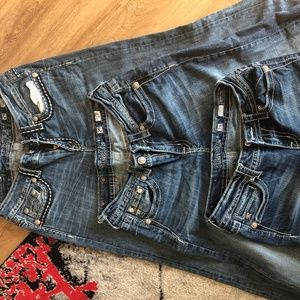 3 pairs Miss Me Jeans - 2 size 29, 1 size 28